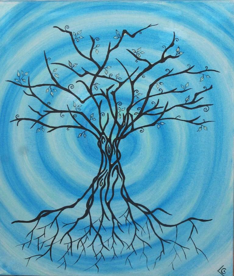 arbre fond bleu