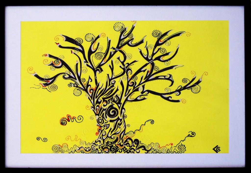 arbre fond jaune chantal vieira