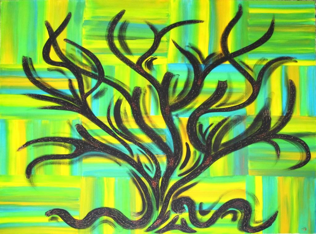 arbre fond vert jaune