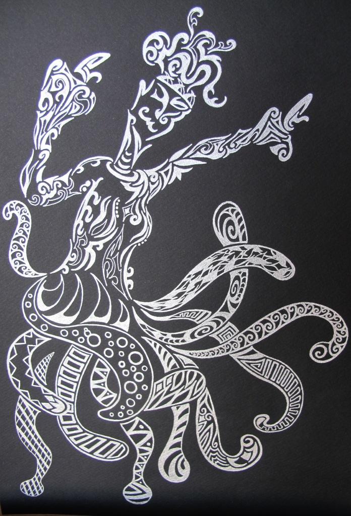 dessin argent sur canson poulpe