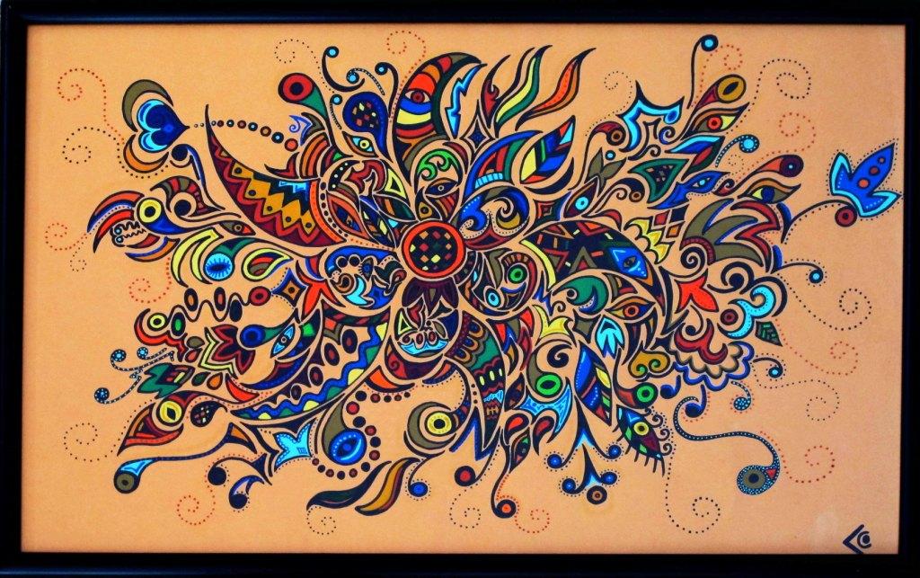 dessin fond orange chantal vieira