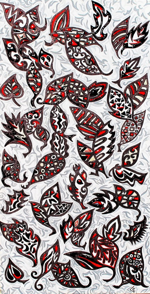 feuilles noir rouge resine
