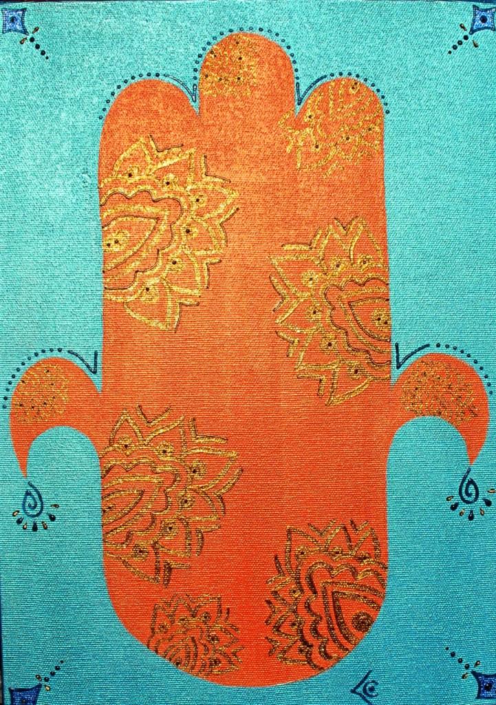 khamsa orange fond bleu