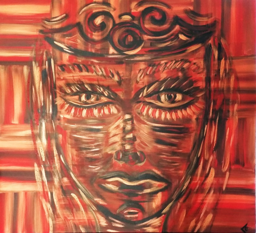 tableau visage fond rouge chantal vieira