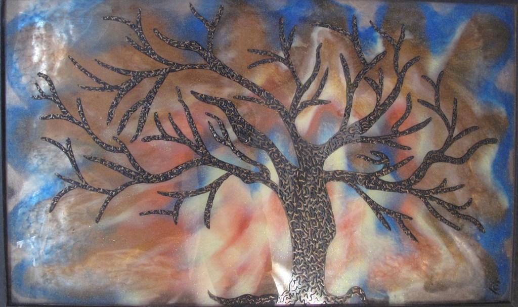 arbre peinture sur verre